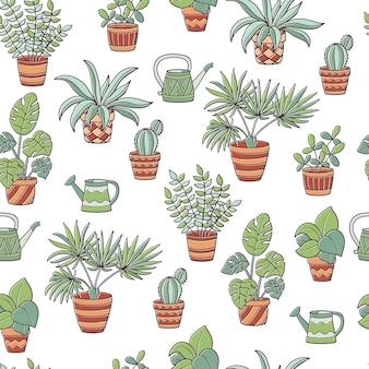 Patrón sin fisuras con un conjunto de plantas de interior en macetas y regaderas, sobre un fondo blanco.