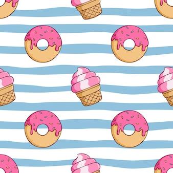Patrón sin fisuras de cono de helado y donut de fresa con estilo doodle