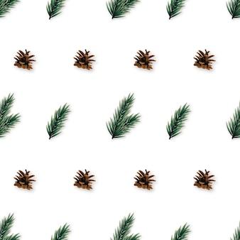 Patrón sin fisuras con conos y ramas de pino realistas.