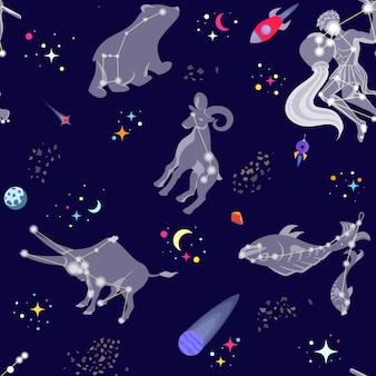 Patrón sin fisuras con constelaciones y estrellas