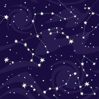 Patrón sin fisuras de constelaciones sobre fondo negro.
