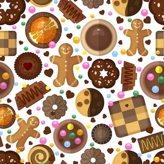 Patrón sin fisuras de cookies. postres dulces, mermeladas y chocolates, deliciosos productos y pan de jengibre