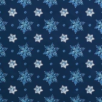 Patrón sin fisuras de copo de nieve de navidad azul