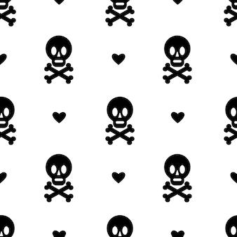 Patrón sin fisuras con corazón de calavera y tibias cruzadas aislado sobre fondo blanco diseño de halloween