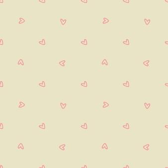 Patrón sin fisuras con corazones de color rosa sobre un fondo beige. ilustración vectorial
