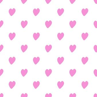 Patrón sin fisuras con corazones de color rosa sobre fondo blanco.