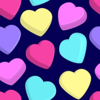 Patrón sin fisuras con corazones de colores