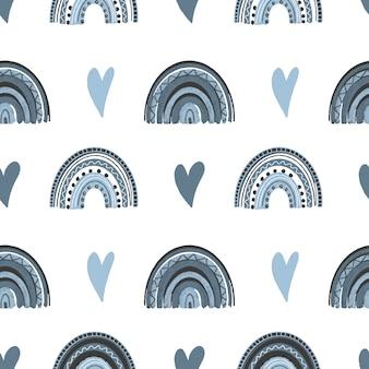 Patrón sin fisuras de corazones dibujados a mano y arco iris boho en colores azules pastel
