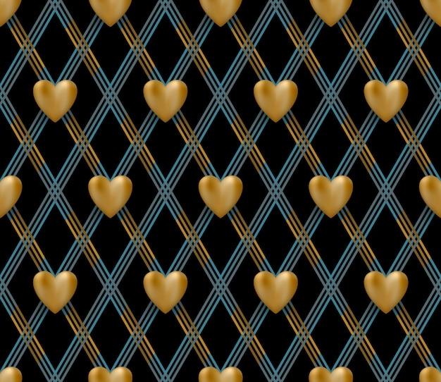Patrón sin fisuras con corazones de oro sobre un fondo negro para el día de san valentín. ilustración.