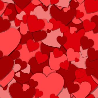 Patrón sin fisuras con corazones papel rojo fondo día san valentín