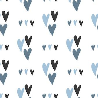 Patrón sin fisuras de corazones simples dibujados a mano en colores azul pastel