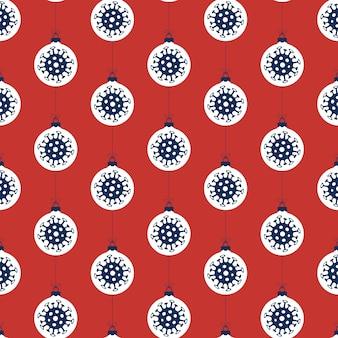 Patrón sin fisuras de coronavirus de navidad con bolas azules y blancas sobre fondo rojo