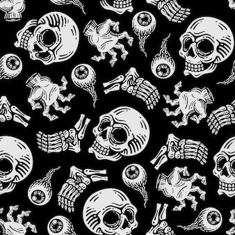 Patrón sin fisuras de cráneo y mano zombie en fondo oscuro