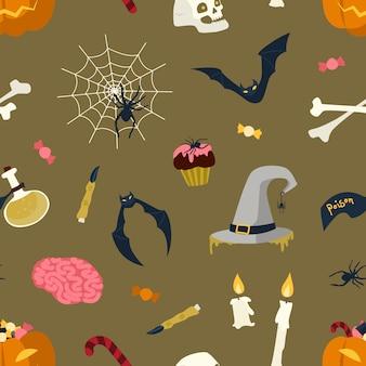Patrón sin fisuras con criaturas y objetos mágicos de halloween sobre fondo oscuro - jack-o'-lantern, sombrero de bruja y frasco con poción, telaraña, murciélago, velas encendidas. ilustración plana de vacaciones.
