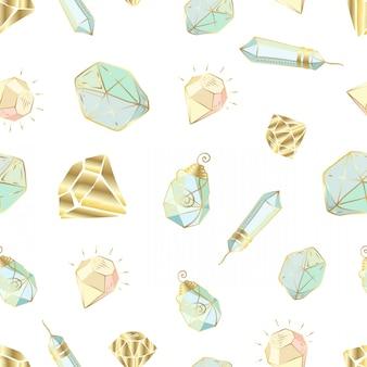 Patrón sin fisuras con cristales vectoriales o gemas