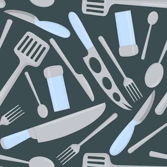 Patrón sin fisuras de cubiertos de alimentos y utensilios de cocina.