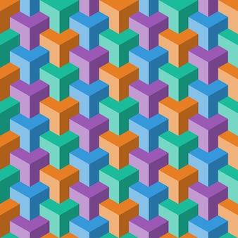 Patrón sin fisuras de cubo de color abstracto