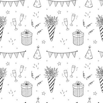 Patrón sin fisuras de cumpleaños festivo con ramos de flores, regalos y champán