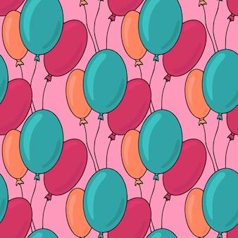 Patrón sin fisuras de cumpleaños con globos de colores sobre fondo rosa. impresión de celebración para fiestas infantiles.