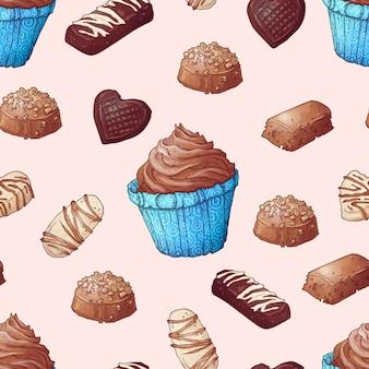 Patrón sin fisuras de cupcakes chocolates mano dibujo