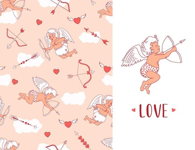 Patrón sin fisuras con cupidos, flechas y corazones. tarjeta de felicitación del día de san valentín. antecedentes.