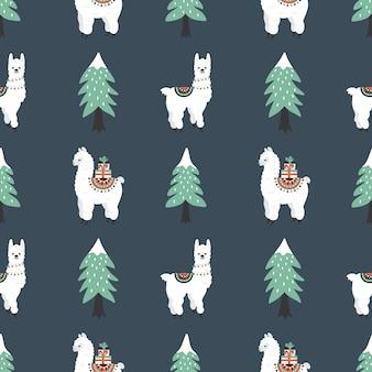 Patrón sin fisuras con cute lamas, cajas de regalo y árbol de navidad.