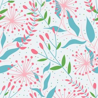 Patrón sin fisuras con delicadas flores de primavera y hojas