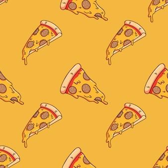 Patrón sin fisuras de deliciosa rebanada de pizza con estilo doodle