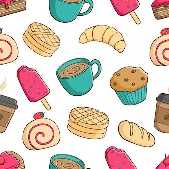 Patrón sin fisuras de deliciosos pasteles con cupcake, helado y taza de café sobre fondo blanco.