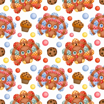 Patrón sin fisuras del día de acción de gracias. pavos de bebé de dibujos animados lindo, galleta con chispas de chocolate americano y cupcake de patrones sin fisuras