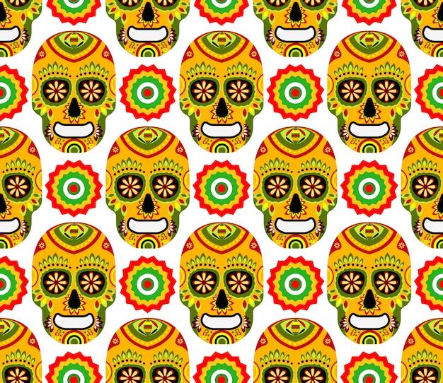 Patrón sin fisuras para el día mexicano de los muertos sobre fondo blanco