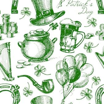 Patrón sin fisuras del día de san patricio con ilustraciones de bocetos dibujados a mano