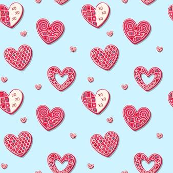 Patrón sin fisuras para el día de san valentín con galletas dulces en forma de corazón. dulces horneados de color rosa romántico.