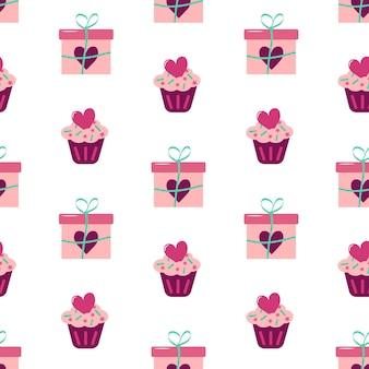 Patrón sin fisuras del día de san valentín con pastel de regalo y corazones
