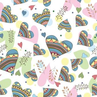 Patrón sin fisuras de dibujar corazones de doodle - diseño para tarjeta de amor
