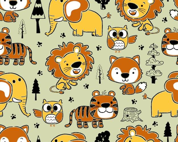 Patrón sin fisuras con dibujos animados de animales