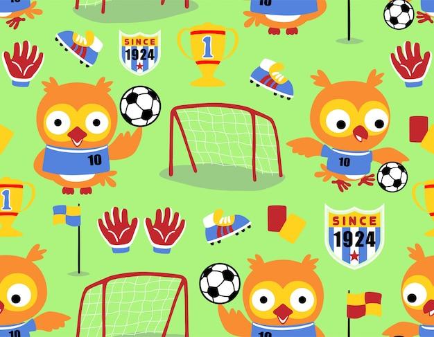 Patrón sin fisuras con dibujos animados búho el jugador de fútbol