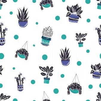 Patrón sin fisuras con dibujos animados casa plantas en maceta