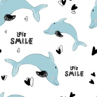 Patrón sin fisuras, dibujos animados de delfines, letras