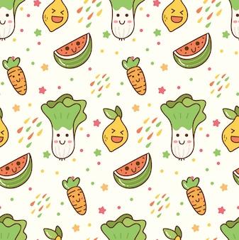 Patrón sin fisuras de dibujos animados frutas y verduras kawaii
