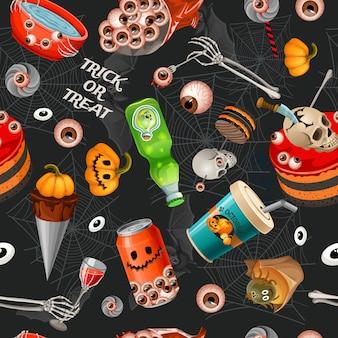 Patrón sin fisuras de dibujos animados de halloween.