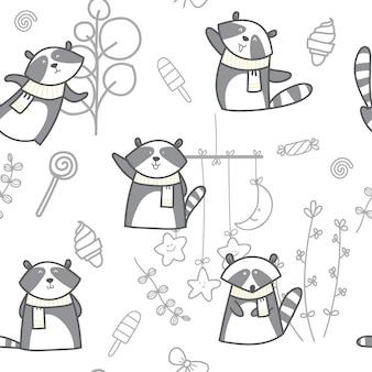 Patrón sin fisuras de dibujos animados lindo bebé mapache