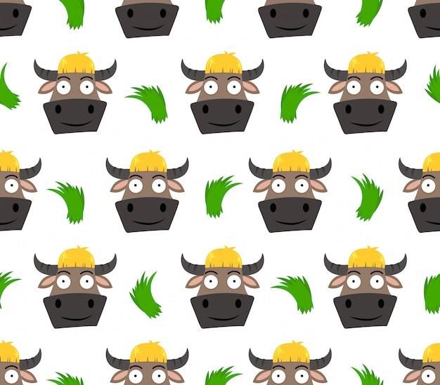 Patrón sin fisuras de dibujos animados lindo búfalo con hierba