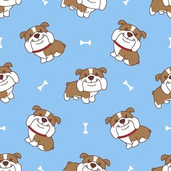 Patrón sin fisuras de dibujos animados lindo bulldog inglés