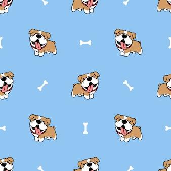 Patrón sin fisuras de dibujos animados lindo bulldog
