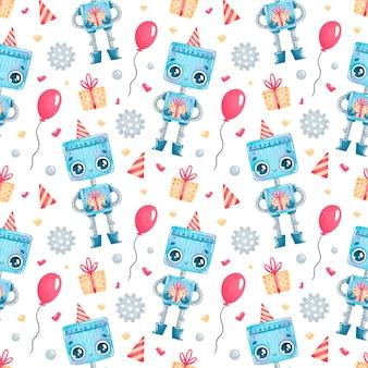 Patrón sin fisuras de dibujos animados lindo cumpleaños robots