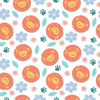 Patrón sin fisuras de dibujos animados lindo león con flores y huellas