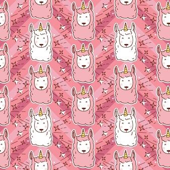Patrón sin fisuras de dibujos animados lindo llama unicornio