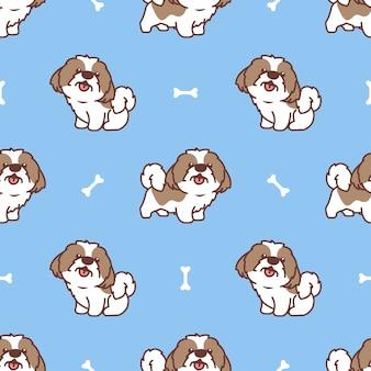 Patrón sin fisuras de dibujos animados lindo perro shih tzu