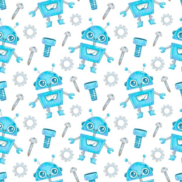 Patrón sin fisuras de dibujos animados lindo robot azul